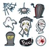 Griezelige de zombie en de brij geplaatste illustratie van Halloween - inzameling Royalty-vrije Stock Fotografie