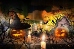 Griezelige Halloween achtergrond Royalty-vrije Stock Afbeeldingen