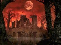 Griezelige Halloween-Conceptenruïnes royalty-vrije illustratie