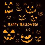 Griezelige Halloween gezichten op zwarte Stock Afbeelding