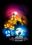 Griezelige Halloween nacht Stock Foto's
