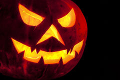 Griezelige Halloween-Pompoen Glanzende Close-up Royalty-vrije Stock Fotografie
