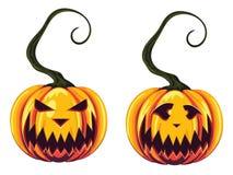 Griezelige Halloween-Pompoenen Stock Foto's