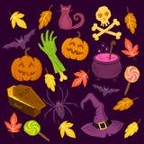Griezelige Halloween-Symbolen Royalty-vrije Stock Fotografie