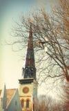 Griezelige Kerktorenspits royalty-vrije stock afbeelding