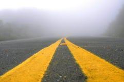 Griezelige Mistige Weg Stock Foto