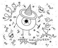 Griezelige ogen Magisch fantasiekarakter, krabbelillustratie vector illustratie