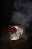 Griezelige schedel in tophat met rode rozen Royalty-vrije Stock Afbeeldingen