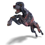 Griezelige vreemde hond uit hel. het 3D teruggeven met Stock Afbeelding