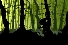 Griezelige warewolf in het bos Stock Afbeelding
