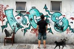 Griezelige Zwarte Katten Stock Afbeelding