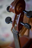 Grif old brown violin. Be on the bright background Wallpaper.Close Royalty Free Stock Image