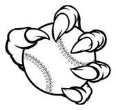 Griffe de monstre ou d'animal tenant la boule de base-ball Images stock