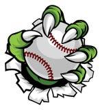 Griffe de monstre ou d'animal tenant la boule de base-ball Image stock