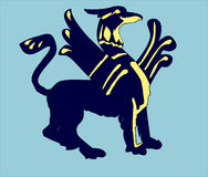 Griffin. Heraldic griffin in a blue background royalty free illustration