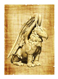 Griffin. Parchment with griffin images. Object over white Royalty Free Stock Photo