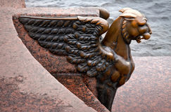 Griffin - bronze winged lion. St. Petersburg Royalty Free Stock Photos