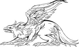 Griffin, close-up view, black and white Royalty Free Stock Image