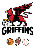 Griffin greek mythology creature sport mascot. Vector of Griffin greek mythology creature sport mascot Stock Photography