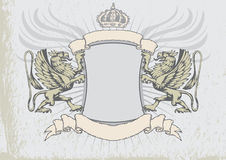 Griffin heraldry shield Royalty Free Stock Images