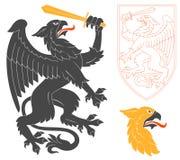 Griffin Illustration preto ilustração stock