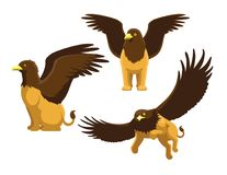 Griffin Poses Cute Cartoon Vector-Illustratie vector illustratie