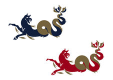 Griffin - Sea Monster - Dragon. A  illustration in two versions of a sea monster Stock Photo