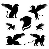 Griffin set vector. Griffin set of black silhouettes. Icons and illustrations of animals. Wild animals pattern stock illustration