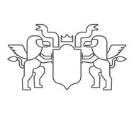 Griffin and Shield heraldic symbol. Sign Animal for coat of arms. Vector illustration Stock Images