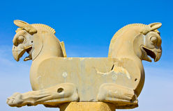 Statue. Double Griffin statue in an ancient city of Persepolis, Iran Royalty Free Stock Images
