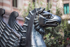 Griffin statue of iranian antique at Freedom square in Tbilisi.  Stock Photography