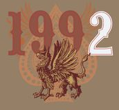 Griffin wings. Written in 1992, consisting winged griffin t-shirt graphic design royalty free illustration