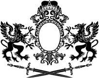 Griffins, arms and crossed swords composition. Illustration for design stock illustration