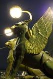 Griffins on Bank Bridge in St. Petersburg. Griffins on Bank Bridge in Saint Petersburg at night Stock Photos