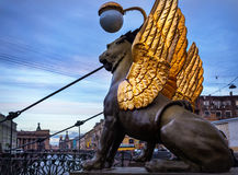 Griffins on the Bank Bridge in St Petersburg Stock Photos