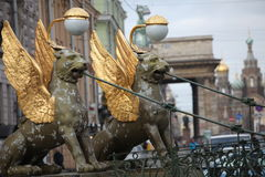 Griffins guard the St. Petersburg Stock Images