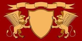 Griffins holding a shield. Shield with ribbon. Heraldry. Medieval emblem. Vector Iillustrations stock illustration
