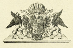 Griffins on old paper background Royalty Free Stock Photo
