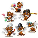 Griffins in six different characters - pirate, military, waiter, chef, maid, aviator.  Stock Photo
