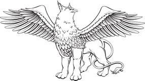 Griffioen - een mythisch schepsel met het hoofd, de klauwen en de vleugels van vector illustratie