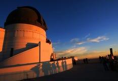 griffith меньшяя обсерватория затеняет заход солнца Стоковое Изображение RF