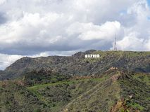 Hollywood Sign from Griffith Observatory in Los Angeles stock photo