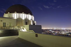 Griffith Observatory in LA. Griffith Observatory with a view of Los Angeles at Night royalty free stock photos