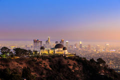The Griffith Observatory and Los Angeles city skyline. At twilight royalty free stock photo