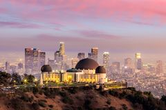 The Griffith Observatory and Los Angeles city skyline. At twilight stock photo