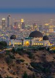 The Griffith Observatory and Los Angeles city skyline. At twilight time stock photo