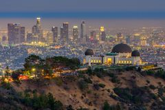 The Griffith Observatory and Los Angeles city skyline at twilight time.  stock images