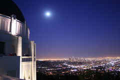 Griffith Observatory and Los Angeles Skyline royalty free stock photography
