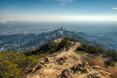 Griffith Observatory from Mount Hollywood Trail royalty free stock photography