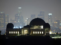 Griffith Park and Fog. Foggy night above downtown LA and Griffith Park in Hollywood Royalty Free Stock Images